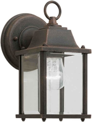 Mission Exterior Sconce - Forte Lighting 1705-01 Craftsman / Mission Outdoor Wall Sconce from the Exterior, Painted Rust