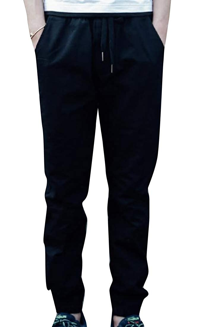 Losait Men Waistband Stretchy Basic Style Oversized Jogger Pants