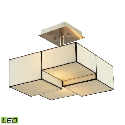 Cubist Collection 2 light semi flush in Brushed Nickel - LED, 800 Lumens (1600 Lumens Total) With Full Scale Dimming Range, 60 Watt (120 Watt Total)Equivalent , 120V Replaceable LED Bulb Included