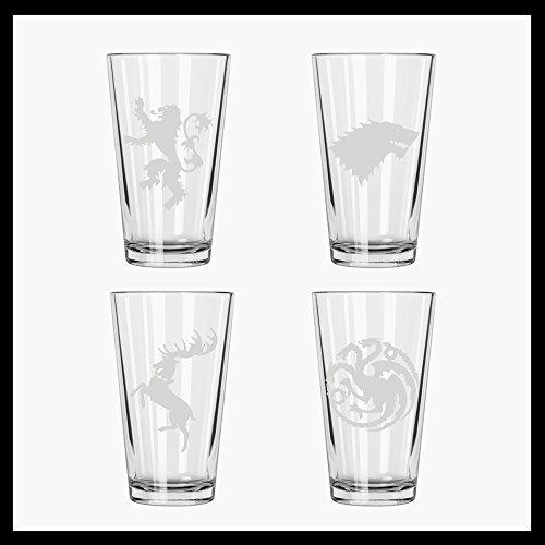 (Game Thrones set of FOUR Houses etched pint glasses: Stark, Baratheon, Lannister, Targaryen)