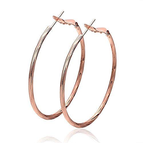 Pink Hoop Earrings (Coolrunner Women Lady Pairs Diameter Full Circle Hoop Earrings (Rose pink))