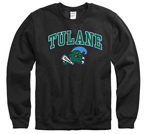 Campus Colors Tulane Green Wave Arch & Logo Gameday Crewneck Sweatshirt - Black, Medium