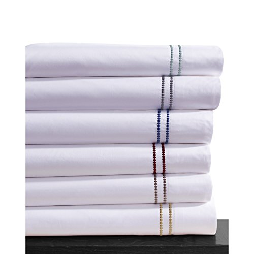 400 Thread Count Dot Embroidered Cotton Deep Pocket Sheet Set Size: California King, Color: Carmine (Dot Embroidered 400 Thread)