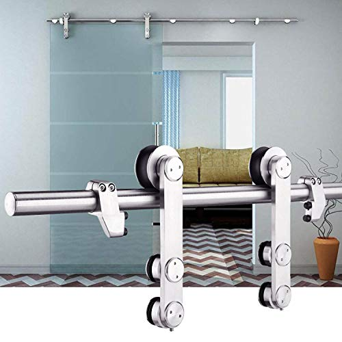 """EaseLife 6 FT Heavy Duty Stainless Steel Sliding Glass Door Hardware Track Kit 