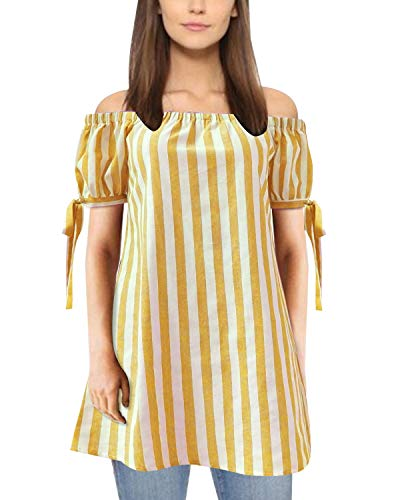 (ZANZEA Women's Off Shoulder Tops Stripe Tie Cuff Loose Short Sleeve Summer Tunic Shirt Blouse Yellow S)
