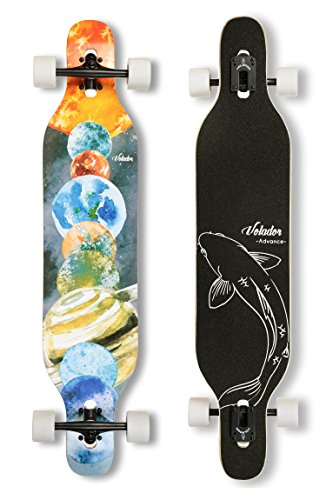 VOLADOR 42inch Freeride Longboard Complete Cruiser (Drop Through Deck - Camber concave)(Solar) (Old Solar System School)