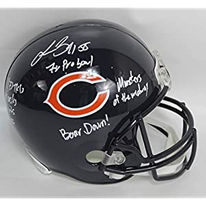 Lance Briggs Autographed Chicago Bears Full Size Riddell Replica Football Helmet w/Inscriptions JSA COA