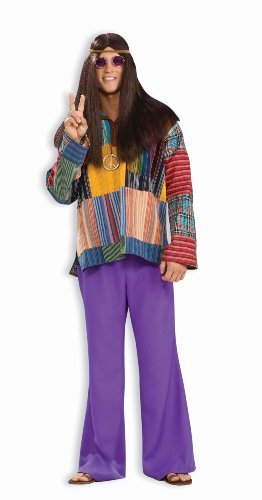 Forum Novelties Men's 60's Hippie Revolution Haze Bell Bottom Pants, Purple, Standard (Hippie Dress Up)