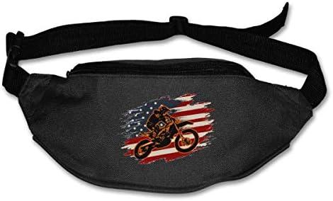モトクロスダートバイクアメリカ国旗ユニセックス屋外ファニーパックバッグベルトバッグスポーツウエストパック