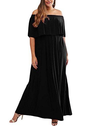 Lalagen Womens Shoulder Ruffle Dress