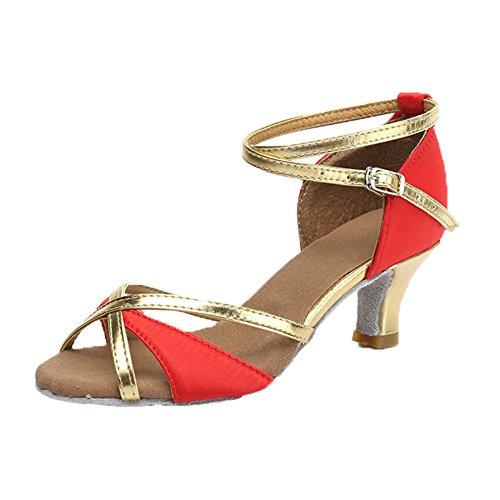 Mujer Zapatos modelo de estándar baile de 5cm Satén de Zapatos latino Rojo ES Ballroom SWDZM baile 225 qA5H7dA