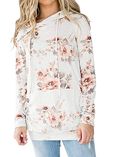 (Famulily Womens Floral Sweatshirt Hoodie Casual Long Sleeve Fall Tops Pullover (White,Small))