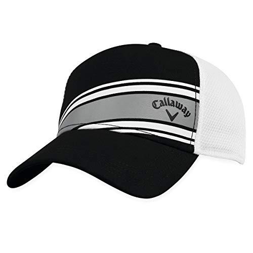 Callaway Golf Stripe Mesh Adjustable Hat, Black/ White