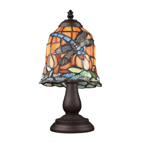 Quoizel TFVY6325VA Victory Tiffany Table Lamp Lighting, 2-Light, 200 Watts, Valiant Bronze 26 H x 18 W