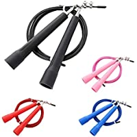 DMX INTL Rapid Speed Jump Steel Wire PVC Coated Skipping Rope Adjustable Length Tangle Free with Swivel Ball Bearings…