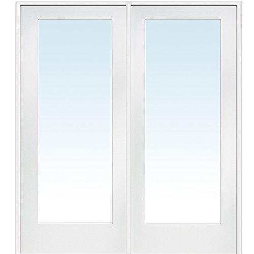 National Door Company Z009299R Primed MDF 1 Lite Clear Glass, Right Hand Prehung Interior Double Door, 60'' x 80'' by National Door Company
