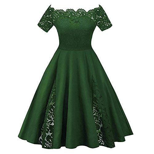Rosegal Vintage Plus Size Scalloped Off Shoulder A-Line Lace Patchwork Evening Dress Green