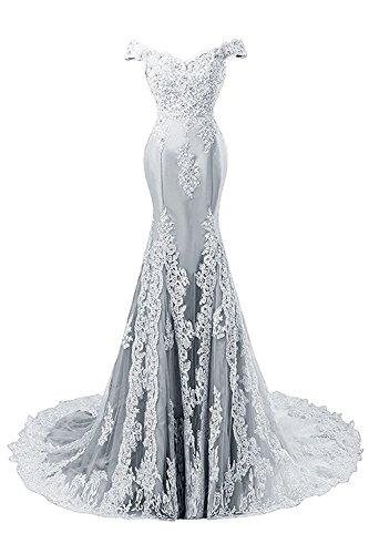 Vestido Vestido de Noche Baile Encaje de Largo Vestidos Satín Mujer Sirena Plateado JAEDEN de Novia t0nY8zwq