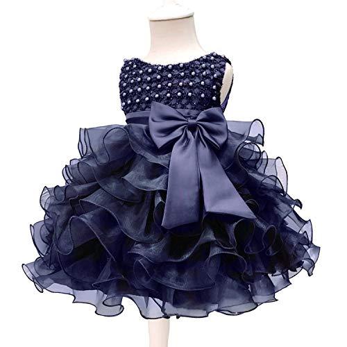 Baby Kids Pearl Baptism Party Tutu Dress for Girls Infant Girl's Christening Birthday Dress Toddler Carnival Vestidos Navy 12M -