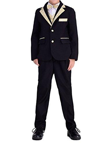 YUFAN Boys Black/White 5 Pieces Formal Tuxedo Suits Jacket Vest Pants Shirt Bow Tie (Black-Gold, 10)