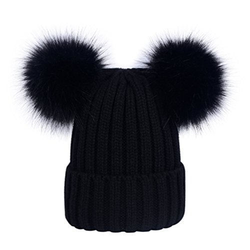 Lau s Berretti invernali da donna cappelli in maglia berretto a coste con  doppio pompon in pelliccia sintetica rimovibile Blanc  Amazon.it   Abbigliamento 0c73ea2a05e9