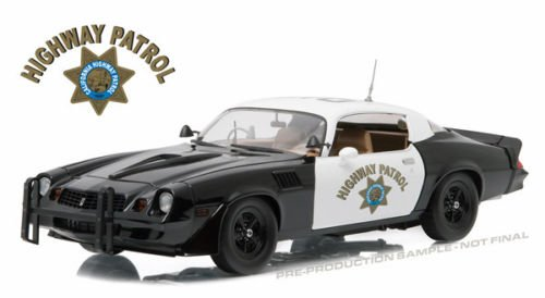 New 1:18 GREENLIGHT Collection - Black White 1979 Chevrolet Camaro Z28 California Highway Patrol Diecast Model Car by Greenlight