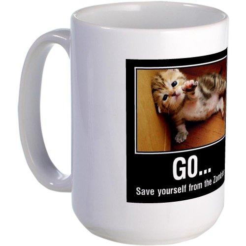 CafePress Unique Decorative Cushion Kitten Zombies - Large Mug Large Mug -