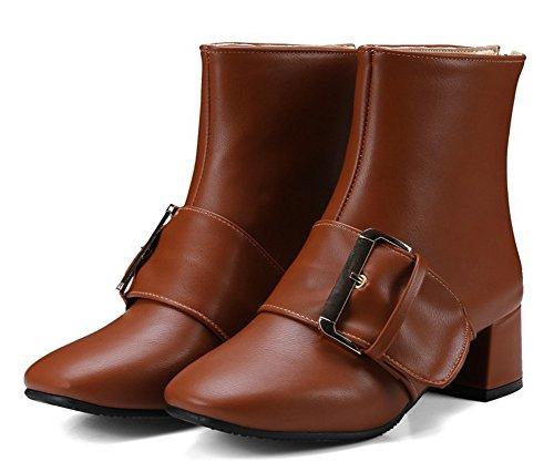 Talons Brun Low Aisun Avec Bottines Mode Boucle Boots Femme Bloc 1wxTp64q