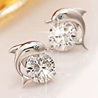 Lovely Crystal Eye Dolphin Stud Earrings Womens Sterling Silver Jewelry Gift