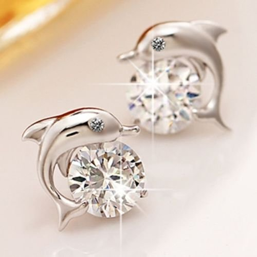 Lovely Crystal Eye Dolphin Stud Earrings Women's Sterling Silver Jewelry Gift