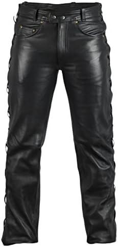 MDM Lederjeans Lederhose Bikerjeans Rockerjeans Motorradhose seitlich geschürt schwarz