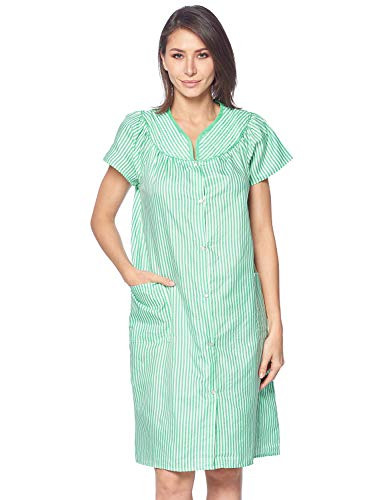 (Casual Nights Women's Snap Front House Dress Short Sleeve Woven Duster Housecoat Lounger Robe, Striped Green, X-Large)
