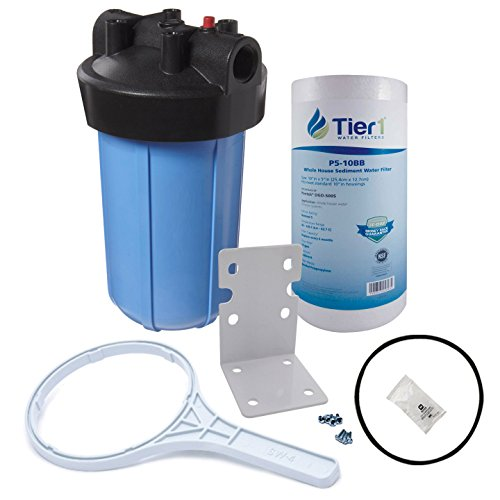 Tier1 Compatible 10 inch Big PP Filter Housing with Pressure Release and Sediment Filter Kit (1 inch Inlet/Outlet)