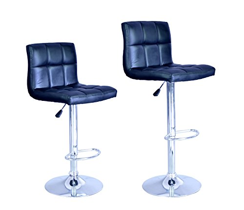 New Black Adjustable Synthetic Leather Swivel Bar Stools Chairs B06-Sets of - Rouge Frame Baton Shop