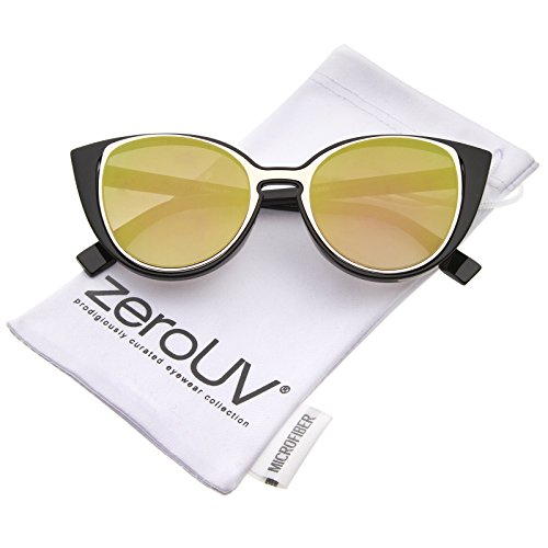 Colored Inserts - zeroUV - Women's Open Metal Insert Colored Mirror Lens Cat Eye Sunglasses 51mm (Black-Gold/Gold Mirror)
