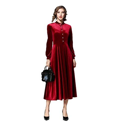 1402986906a2 Maniche Rosso Swing Cerimonia Donna Retro nero De Abito Velluto Vestiti  Abiti Zkoo Maxi Lunghi Di Rosso Lunghe wXqORR6