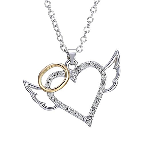 Luvalti Angel Wings Heart Pendant Necklace - Romantic Angel Necklace for Women]()