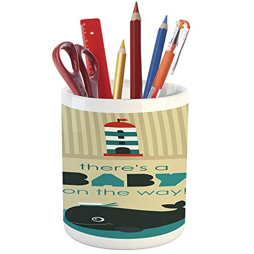 Pencil Pen Holder,Ahoy Its a Boy,Printed Ceramic Pencil Pen Holder for Desk Office Accessory,Baby on The Way Message with Marine Theme Set Up Dolphin Wheel ()