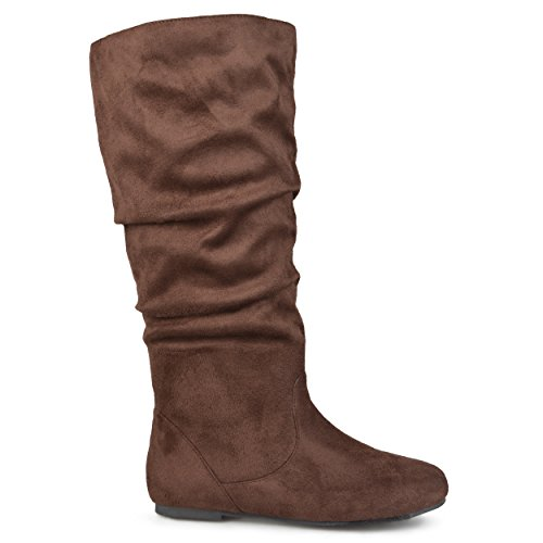 Microsuede Slouchy Boots - Brinley Co. Womens Regular Size and Wide-Calf Knee-High Slouch Microsuede Boot Brown, 11 Wide Calf US
