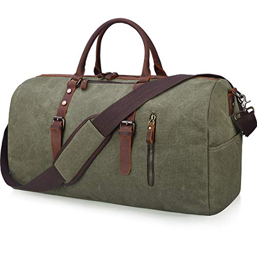 (Travel Duffel Bag Large Canvas Duffle Bag for Men Women Leather Weekender Overnight Bag Carryon Weekend Bag Army)