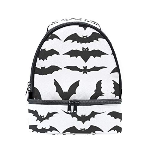 HEOEH Halloween Bat Clip Art Lunch Bag Insulated Lunch Box Cooler Tote Bag Adjustable Strap Handle