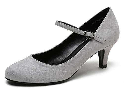 CAMSSOO Women's Closed Toe Low Mid Heel Ankle Strap Dress Pump Shoes Grey Velveteen Size US9 ()