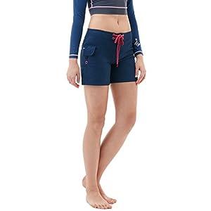 "CLSL TM-FSB02-NVY_Medium Tesla Women's 5"" Swim Trunks Quick Dry Water Beach Board Shorts FSB02"