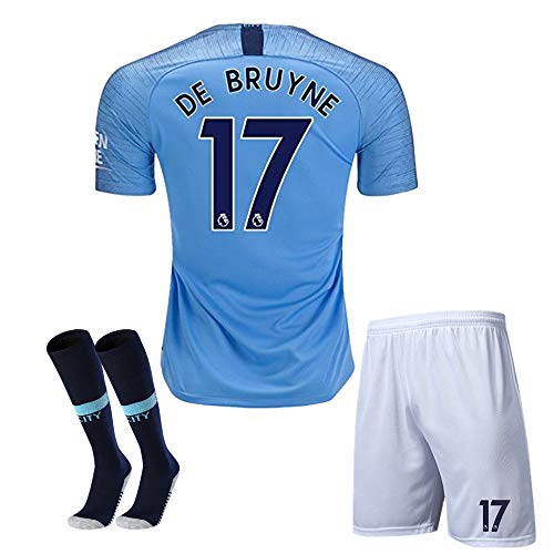 Manchester City #17 DE BRUYNE 18-19 Season Kids/Youth Home Soccer Jersey & Shorts & Socks Color Blue 10-11Years/Size 26