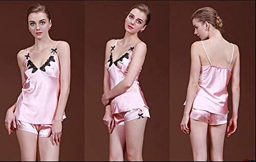 Ropa En Cuello Verano Elegante Moda De Las Sling Pijamas Suaves Sin V Con Casuales Dormir Mujeres Mangas Camisón Rose Pijama Cómodo SBwxUYA