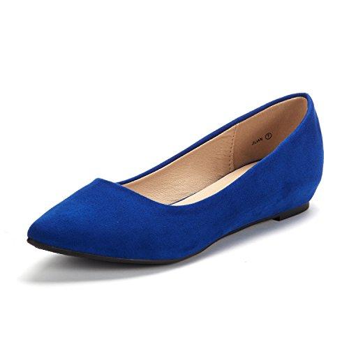 Blue Womens Flat - DREAM PAIRS Women's Jilian Royal Blue Low Wedge Flats Shoes - 6.5 M US