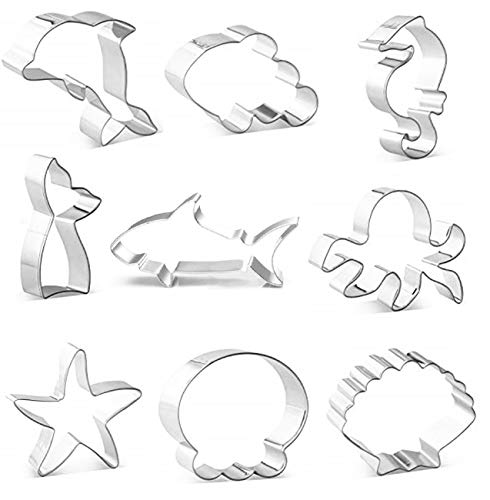 DEVIN0705 under the Sea Creatures Cookie Cutter Set- piece, Seastar, Seashell, Seahorse, Heim,shark,Octopus, fish tail,Dolphin, clownfish,Cookie Cutters Molds for Kids Birthday Party Supplies Favors. - Fish Cookie Favors