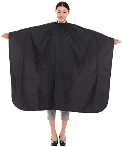 Maximum Cover Salon Hair Cutting Gown, Barber Hairdressing Coloring Cape with Sleeves - Black by Perfehair
