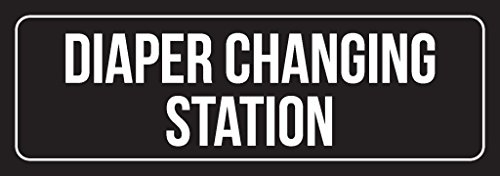 Black Background with White Font Diaper Changing Station Plastic Door Sign (3x9) - Single