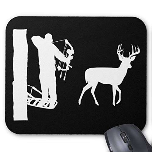 (Gaming Mouse Pad Non-Slip Water Resistant Rubber Base Cloth Computer Mouse Mat-(Bowhunter in treestand Shooting Deer Mouse pad))